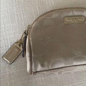 Coach Makeup - EUC authentic Coach Gold make up bag